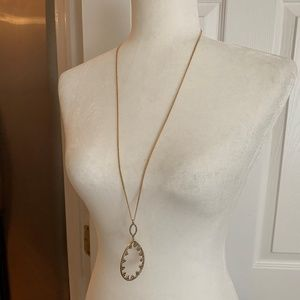 INC Gold Tone crystal accent drop pendant necklace